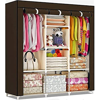shopper 52.com Fancy and Portable Fabric Collapsible Foldable Clothes Closet Wardrobe Storage Rack Organizer Cabinet Cupboard Almirah 3 Door Wardrobe Collapsible Wardrobe (Brown) - 88130A-BR