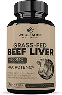 Grass Fed Desiccated Beef Liver Capsules (180 Pills, 750mg Each) - Natural Iron, Vitamin A, B12 for Energy - Humanely Past...