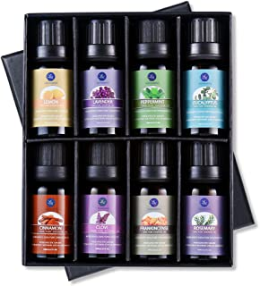 Lagunamoon Top 8 Essential Oils Set,Nature Therapeutic Grade Aromatherapy Oils,Lavender,Eucalyptus,Cinnamon,Frankincense,Clove,Rosemary,Peppermint,Lemon Essential Oils