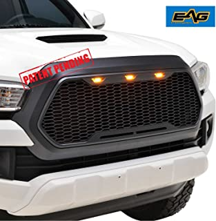 EAG Replacement Upper Grille Front Full Grill with Amber LED Lights - Matte Black Fit for 16-19 Toyota Tacoma
