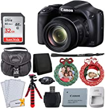 Canon SX530 HS PowerShot Digital Camera with 50x Optical Zoom & Built-in Wi-Fi (Black) + 32GB Memory Card + Camera Case + Flexible Tripod + Wreath Photo Ornament Green, Red – Holiday Bundle