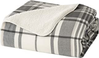 Bedsure Lightweight Plaid Sherpa Throw Blanket for Summer Fleece Blanket for Couch Soft Warm (Black/White, 50 x 60 inches)