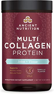 Ancient Nutrition Multi Collagen Protein Powder, Joint + Tissue, Vanilla Flavor, 5 Types of Food Sourced Collagen Peptides...