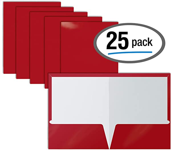 2 Pocket Glossy Laminated RED Paper Folders Letter Size Red Paper Portfolios By Better Office Products Box Of 25 Red Folders
