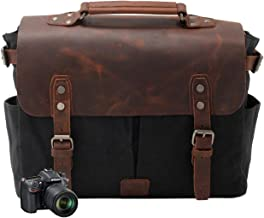 Neuleben Kameratasche Vintage Wasserdicht Canvas Leder Fototasche für DSLR Objektiv Shultertasche Aktentasche Multifungktion Schwarz