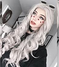 Vedar 2019 Fairy Style Free Part Silver Grey - Ice Grey Hair Lace Front Wigs for Ladies 22 inches Cosplay Gray Lace Wigs Deep Weave Best Synthetic Wigs Loose Curly Hair Wig (Light Grey)