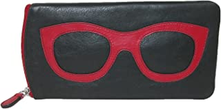 CTM Women's Leather Eyeglass Case with Eyeglass Design, Black/Red