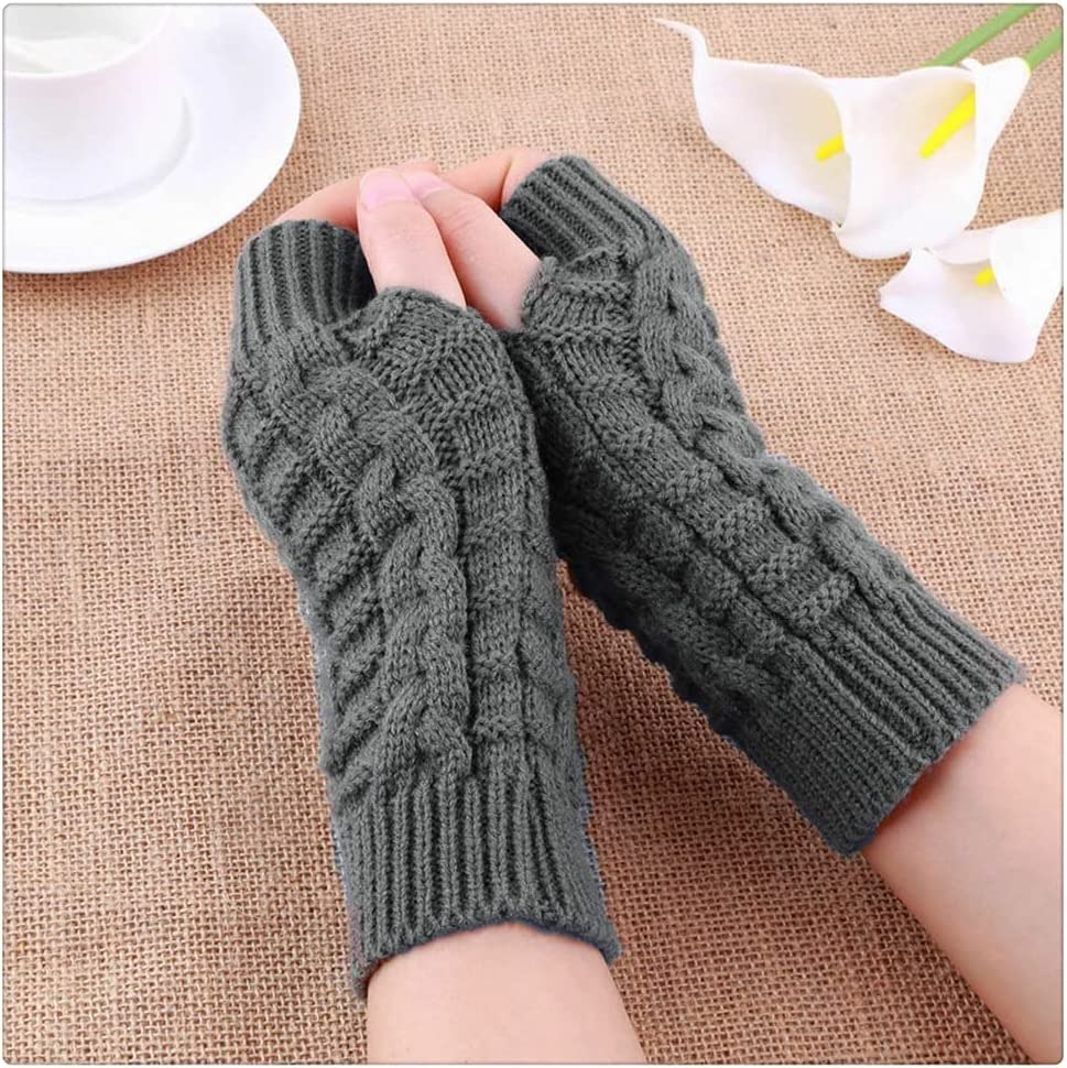 WBDL Half Finger Gloves for Women Winter Soft Warm Arm Gloves Soft Warm Mittens (Color : Gray)
