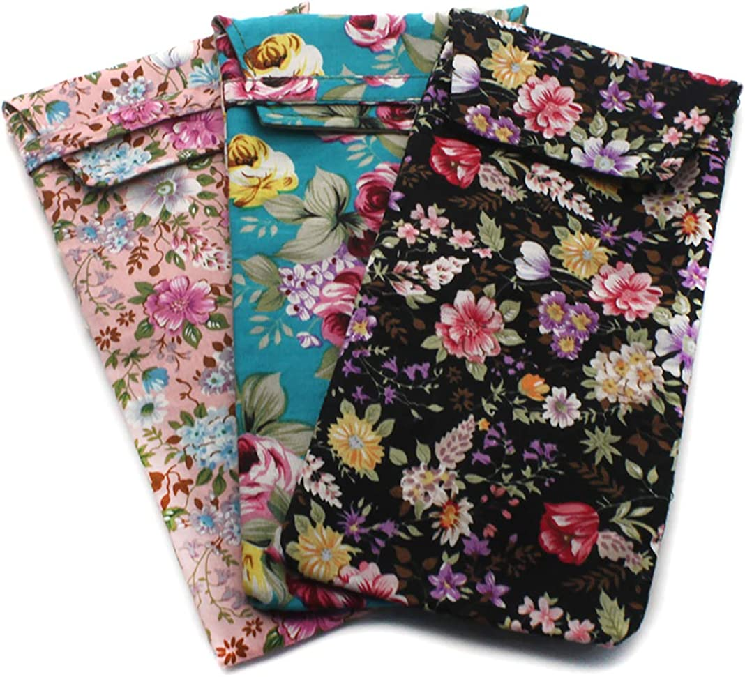 2 PACK / 3 PACK Soft Cloth Slip In Lady Floral Eyeglass or Regular Sunglasses Pouch Case