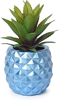 Lvydec Potted Artificial Succulent Decoration, Fake Pineapple Plant for Home Office Tabletop Decoration (Blue)