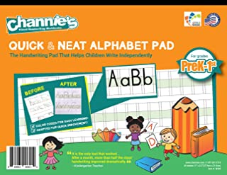 """Channie's Quick & Neat Alphabet Writing Pad, Practice Handwriting & Printing Workbook, 80 Pages Front & Back, 40 Sheets, Grades PreK – 1st, Size 8.5"""" x 11"""""""