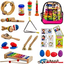SMART WALLABY 20 pc. Musical Instruments Set for Toddlers + a Puzzle Matching Game & a Musical Activities Bonus E-Book | Educational Percussion Kit with Xylophone, Pink Storage Bag & More. Big Band