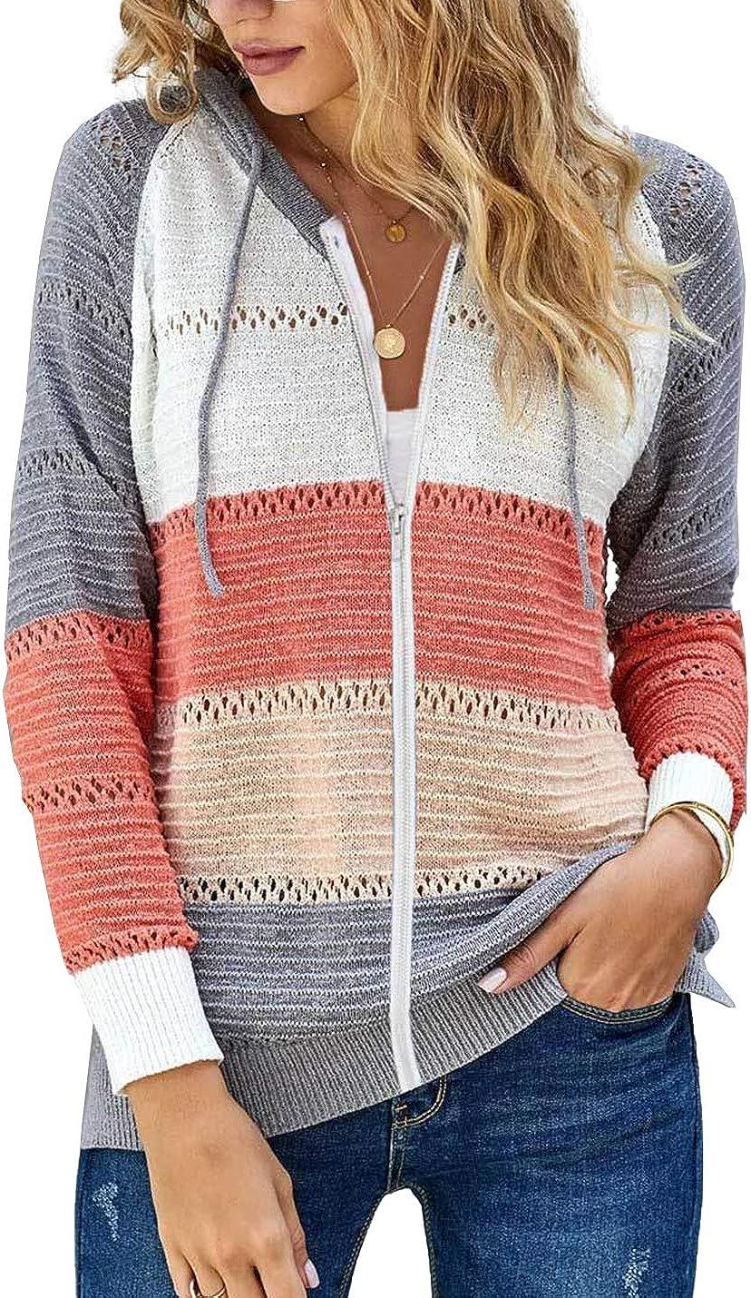 Tohopu Women's Casual V-Neck Long Sleeve Hoodies Sweater Knit Zip Stripe Hollow Out Sweatshirt