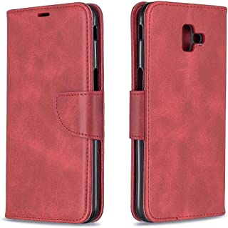 J 6 Plus Case Compatible with Samsung Galaxy J6 Plus Prime Luxury Cover Protective Kickstand j6+ Flip Fold Bumper [Wrist Strap] J6plus Skin J6prime Card Holder PU Leather Square 6j Back 6.0 (inch)