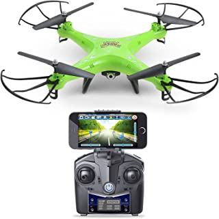 Holy Stone HS110 FPV Drone with 720P HD Live Video WiFi Camera 2.4GHz 4CH 6-Axis Gyro RC Quadcopter with Altitude Hold, Gravity Sensor and Headless Mode Function RTF, Color Green