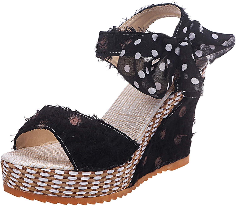 Zainafacai Women's Espadrilles Tie Up Ankle Strap Wedges Sandals
