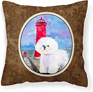 Caroline's Treasures SS8891PW1414 Lighthouse with Bichon Frise Decorative Canvas Fabric Pillow, 14Hx14W, Multicolor