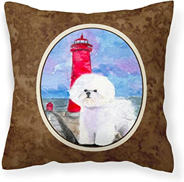Caroline's Treasures SS8891PW1414 Lighthouse with Bichon Frise Decorative Canvas Fabric Pillow, 14Hx14W, Multicolor