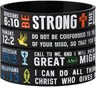 Power of Faith Christian Bible Verse Silicone Bracelets - Religious Rubber Wristbands with Christian Symbols (Cross, Grail, Fish, Dove) and Scriptures Holiday Jewelry Gifts