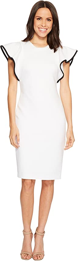 Calvin Klein Ruffle Sleeve with Piping Scuba Sheath Dress CD8M16GZ