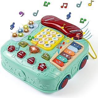 Jouet Bébé 5 en 1 Jouets Interactifs d'apprentissage de La Musique Jouet de Clavier de Piano et Téléphone Jeu Educatif Enf...