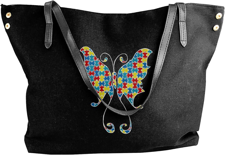 Autism Butterfly Flying Women'S Recreation Canvas Sling Bag For School Handbag