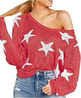 Pink Queen Womens Loose Long Batwing Sleeve V Neck Star Print Knitted Pullover Sweater