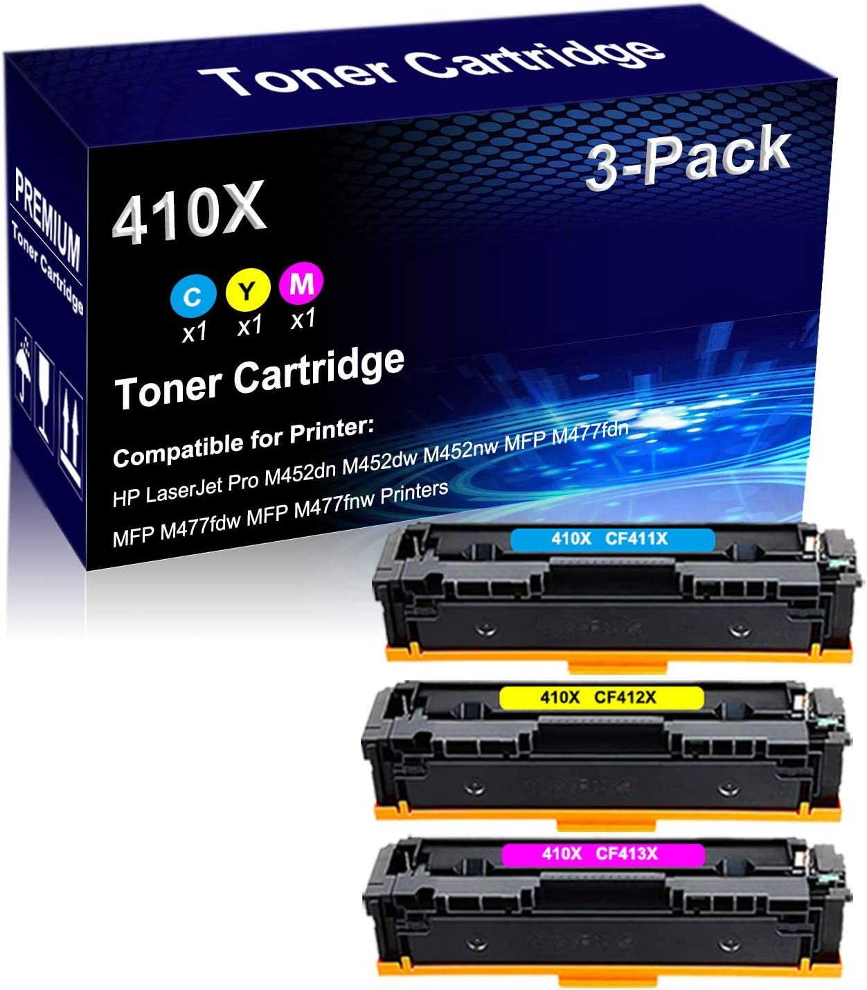 3-Pack C+Y+M Compatible Laser Toner A free shipping surprise price is realized Yield High Cartridge Repla