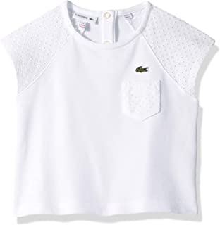 Lacoste Girl Pique T-Shirt W/Eyelet Lace Detail