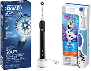 Oral-B Black Pro 1000 Power Rechargeable Electric Toothbrush with Oral-B Kids Electric Rechargeable Power Toothbrush Featuring Disney's Frozen, includes 2 Sensitive Brush Heads