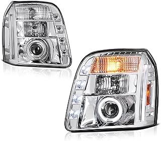 [For 2007-2014 GMC Yukon XL 1500 2500] LED Halo Ring Chrome Projector Headlight Headlamp Assembly, Driver & Passenger Side
