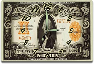 George Washington Customized Money Clock United States Treasury Gold Coin Certificate Series 1922 20 Dollar Bill 8 x 12 inch Wall Clock US Revolution