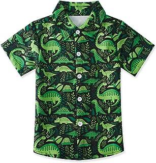 uideazone Kids Boys Hawaiian Aloha Shirt Summer Short Sleeve Button Down Dress Shirt for Beach Holiday 2-14 Years