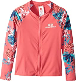Day Dream Long Sleeve Zip Rashguard (Big Kids)