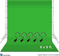 LimoStudio 6 x 9 ft. Green Muslin Backdrop with Ring Metal Holding Clips for Photo Video..
