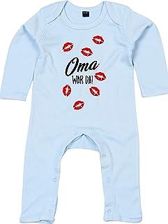 Kleckerliese Baby Strampler Schlafanzug Overall Sprüche Jungen Mädchen Motiv Oma war da Kuss Küsse Küsschen
