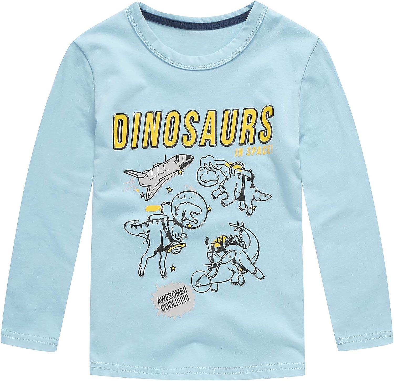 Moon Tree Boys Dinosaur Shirt Kids Cotton Long Sleeve T Shirts Graphic Crew Neck Tees