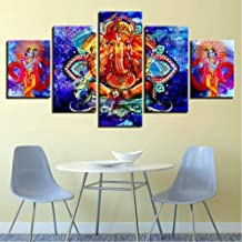 Wffang Canvas Prints Hd Pictures Home Decor 5 Pieces Lord Ganesha and Krishna Modular Painting Abstract Poster Wall Art Frame