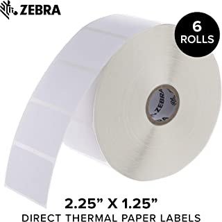 Zebra - 2.25 x 1.25 in Direct Thermal Paper Labels, Z-Perform 2000D Permanent Adhesive Shipping Labels, Zebra Desktop Printer Compatible, 1 in Core - 6 Rolls