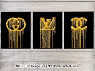 Gucci, Louis Vuitton, LV, Chanel Art Print Wall Art Poster Set - Contemporary Chic Home Decor for Bedroom, Living Room, Office, Bathroom - Gift for Women, Fashion Designer, Fashionista - 8x10 Photo