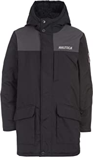 Nautica Boys' Water Resistant Sherpa Lined Hooded Parka