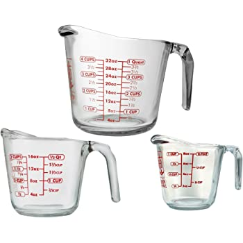 Anchor Hocking 77940COM Anchor 77940 3-Piece Measuring Cup Set, Set of 3, Clear