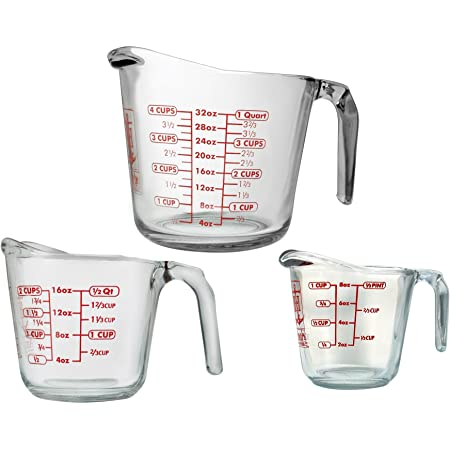 Anchor Hocking 92032ECOM Anchor 77940 3-Piece Measuring Cup Set, Set of 3, Clear