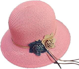 Straw Hat Beach Hat Round Cap Summer Shade Sunscreen Ladies Caps(Pink)