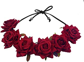 Floral Fall Rose Red Rose Flower Crown Woodland Hair Wreath Festival Headband F-67