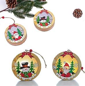 Set of 2 Christmas Decoration Wooden Glowing Pendant, Christmas Home Holiday Decor Ornaments, Adorable Snowman Santa Thanksgiving Day Xmas Gift For Children Tree Decoration Christmas Children's Gifts