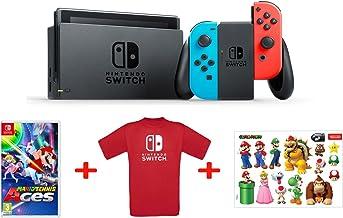 Nintendo Switch - Blu/Rosso Neon + Mario Tennis Aces + T-Shirt N. Switch + Stickers Super Mario