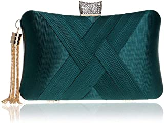 GETKO WITH DEVICE Women's Elegant Tassel Velvet Evening Party Clutch Bags Bridal Wedding Purse Handbags Fashion Suede Dinner Bag (Green)