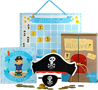Pirate Potty Training Set with Book, Potty Chart, Reward Magnets, Pirate Hat and Patch for Toddler Boys - Comes in Pirate Ship Box.