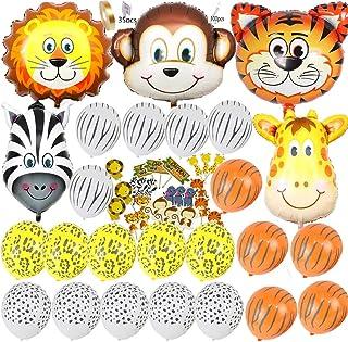 Safari Jungle Zoo Huge Animal head Balloon Jumbo Balloons Zebra Tiger Lions Giraffe & Monkey with 20pcs 11 latex Safari Print Party Supply foci cozi